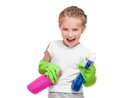 Little girl cleaning Royalty Free Stock Photos