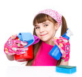 Little girl cleaning  on white background Royalty Free Stock Photo
