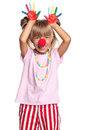 Little girl with clown nose Royalty Free Stock Photos