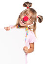 Little girl with clown nose Stock Photography