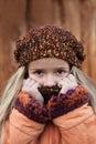 Little girl in the cold autumn closeup portrait Stock Photo