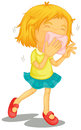 A little girl with colds illustration of on white background Royalty Free Stock Photography