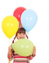Little girl with colorful balloons birthday party happy Royalty Free Stock Photography