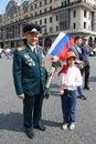 Little girl congratulate the Veteran of War Stock Photography