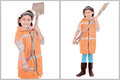 Little girl in construction clothes white background this image has attached release Stock Image