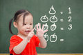 Little girl counting her finger Royalty Free Stock Photo