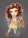 Little girl with curly hair in yellow dress holding a flower Royalty Free Stock Photo