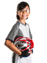 Little girl with cycling attire viii asian malay helmet and Royalty Free Stock Photos