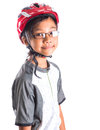 Little girl with cycling attire x asian malay helmet and Stock Photography