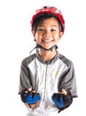 Little girl with cycling attire xi asian malay helmet and Stock Image