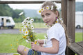 Little girl with daisies in her hair Royalty Free Stock Photo