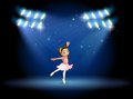 A little girl dancing ballet with spotlights illustration of Stock Image