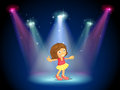 A little girl dancing in the middle of the stage with spotlights illustration Royalty Free Stock Photos