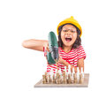 Little girl destroy chess with drill iv concept image of destroying a stone set power Royalty Free Stock Images