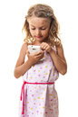 Little girl dialing smartphone one cute blond touching the display playing or using isolated on white Royalty Free Stock Images