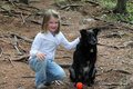image photo : Little girl with dog