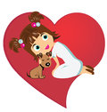 Little girl and dog symbol of love