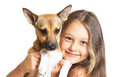 Little girl and doggy on a white background Royalty Free Stock Photo