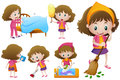 Little girl doing different housework Royalty Free Stock Photo