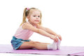 Little girl doing fitness exercises Royalty Free Stock Photos