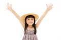 A little girl doing a hooray type pose Stock Photos
