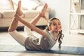 Little girl doing yoga Royalty Free Stock Photo
