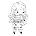 Little girl in doodle style isolated on white background vector illustration Royalty Free Stock Photo