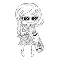 Little girl in doodle style isolated on white background vector illustration Stock Photography