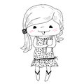 Little girl in doodle style isolated on white background vector illustration Stock Image