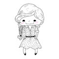 Little girl in doodle style vector illustration Stock Image
