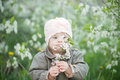 Little girl with Down syndrome smelling flowers Royalty Free Stock Photo
