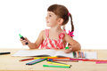 Little girl draw with crayons Stock Photo