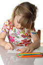 Little girl drawing a picture Stock Photo