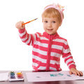 Little girl draws paints on white background Stock Photo