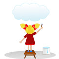 A little girl draws on  sky cloud Royalty Free Stock Photo