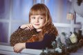 Little girl dreams of a holiday Royalty Free Stock Photo