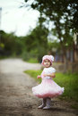 Little girl in dress outdoor photo cute Royalty Free Stock Photos