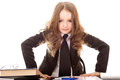 Little girl dressed as business woman Royalty Free Stock Photo