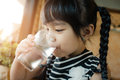 Little girl drinking water. Royalty Free Stock Photo
