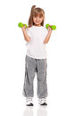 Little girl with dumbbells Stock Photo