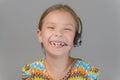 Little girl with earphones Royalty Free Stock Photo