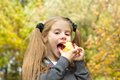 Little girl eating apple Royalty Free Stock Photo