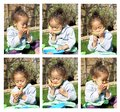 little girl eating melon collage Royalty Free Stock Photo