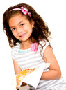 Little girl eating pizza Stock Photo