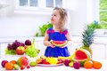 Little girl eating water melon Royalty Free Stock Photo