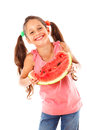 Little girl eating a watermelon smiling isolated on white Stock Photos