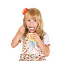 Little girl eating yogurt Stock Image
