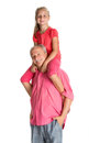 Little girl enjoying piggyback ride with her grandfather portrait of a on a white background Stock Images
