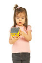 Little girl examine house Stock Images