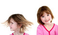 Little girl expressions isolated on white portraits of showing background Stock Images